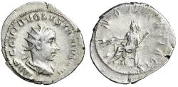 "Ancient Coins - Volusian AR Antoninianus ""IVNO MARTIALIS Juno Seated"" Rome Very Rare"