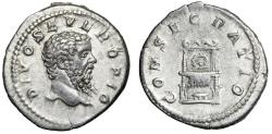 "Ancient Coins - Divus Septimius Severus AR Denarius ""CONSECRATIO Throne, Wreath"" Near EF"