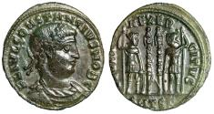 """Ancient Coins - Constantius II Caesar AE19 """"Roman Soldiers"""" Thessalonica RIC 185 VF Green Patina"""