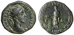 """Ancient Coins - Commodus Dupondius """"Standing By Altar"""" Rome 181 AD Near VF"""