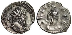 "Ancient Coins - Postumus AR Antoninianus ""SALVS AVG Aesculapius (Asklepios), Serpent Staff"" gVF"