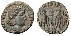 """Ancient Coins - Constantine II AE16 """"CONSTANTI_NVS V M AVG / Soldiers"""" RIC 17 Rare Legends nEF"""