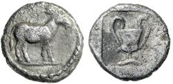 "Ancient Coins - Macedonia, Mende AR Tritemorion ""Ass Walking & Kantharos"" Unpublished Very Rare"
