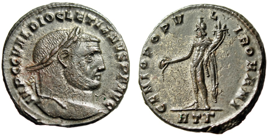 "Ancient Coins - Diocletian Follis ""GENIO POPVLI ROMAN Genius"" Heraclea RIC 19a aEF Great Reverse"