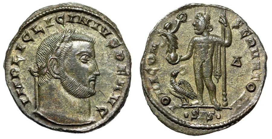 "Ancient Coins - Licinius I Silvered Follis ""IOVI CONSERVATORI Jupiter, Eagle"" Siscia RIC 17 aEF"