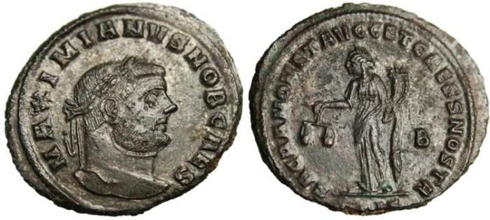 """Ancient Coins - Maximian as Caesar Follis """"Moneta"""" Siscia RIC 135b Scarce VF"""