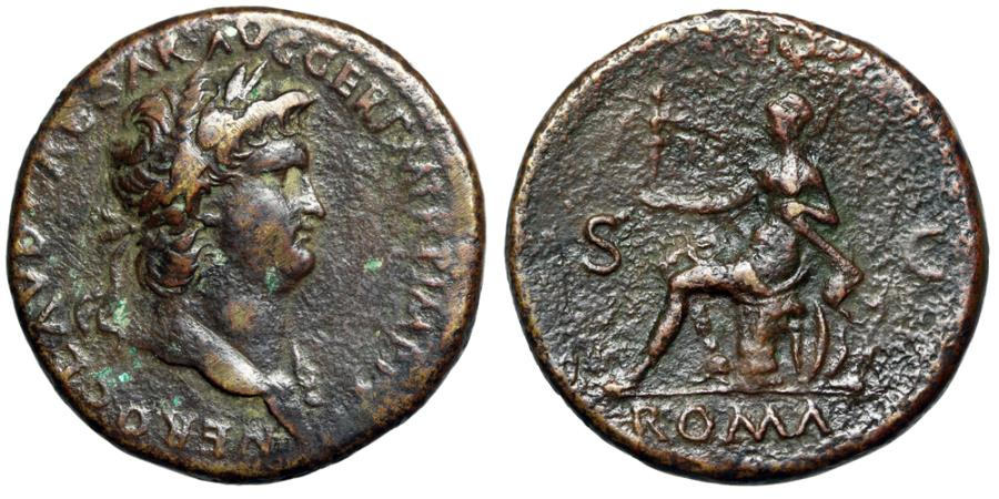 """Ancient Coins - Nero AE Sestertius """"Roma Seated on Arms"""" Rome 62-68 AD RIC 273 VF"""