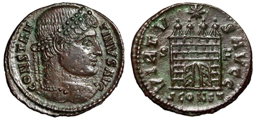 "Ancient Coins - Constantine I The Great ""VIRTVS AVGG Camp Gate, Open Doors"" Arles RIC 321 aEF"