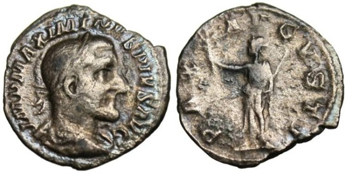 "Ancient Coins - Maximinus I AR Denarius ""Pax"" Goddess of Peace RIC 12"