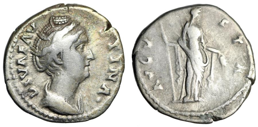 "Ancient Coins - Diva Faustina AR Denarius ""Ceres With Scepter & Corn Ears"" Rome RIC 359 gF"