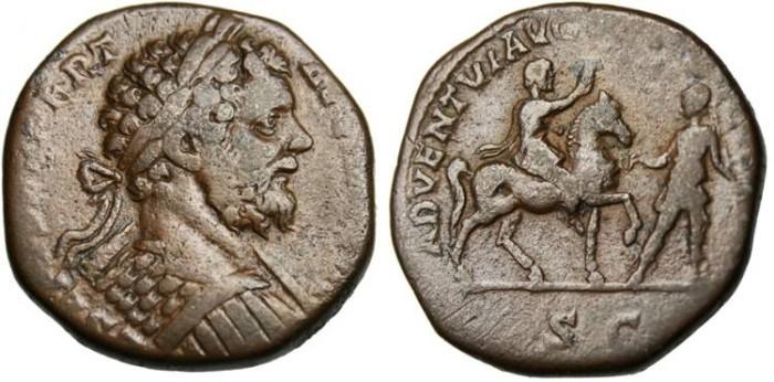 """Ancient Coins - Septimius Severus, AE Sestertius """"ADVENTI AVG FELICCISSIMO Emperor on Horseback"""" RIC 719 Rare"""