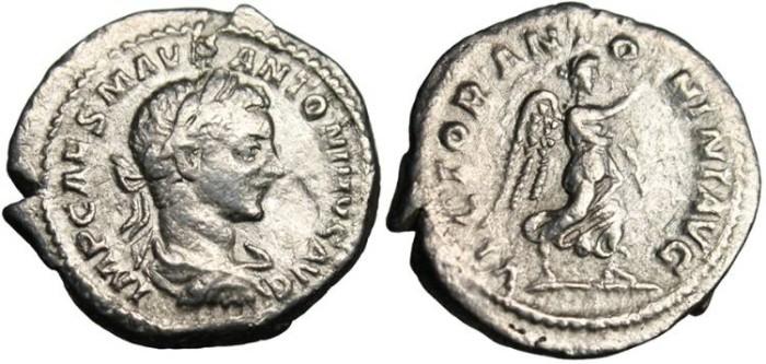 "Ancient Coins - Elagabalus, AR Denarius ""VICTOR ANTONINI AVG Victory"" Rome RIC 156"