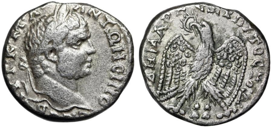 "Ancient Coins - Caracalla AR Tetradrachm of Ace-Ptolemais in Phoenicia ""Eagle, Dioscurio Pilei"""