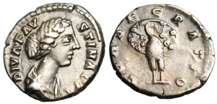 """Ancient Coins - Diva Faustina II Silver AR Denarius """"CONSECRATIO Facing Peacock"""" RIC 743 Rome"""