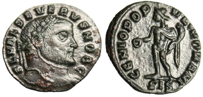 "Ancient Coins - Severus II AE Quarter 1/4 Follis ""Genius"" Siscia RIC 170a Scarce EF"