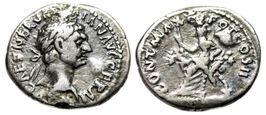 """Ancient Coins - Trajan Silver Denarius """"Abundantia Seated"""" Rome Mint 98-99 AD RIC 11 Good Fine"""