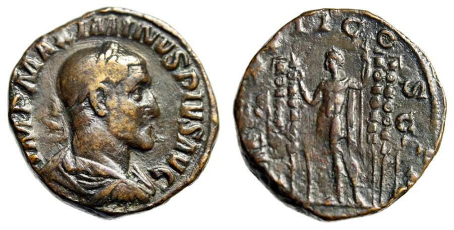 "Ancient Coins - Maximinus I Thrax Sestertius ""Emperor Between Four Standards"" RIC 30 Scarce aVF"
