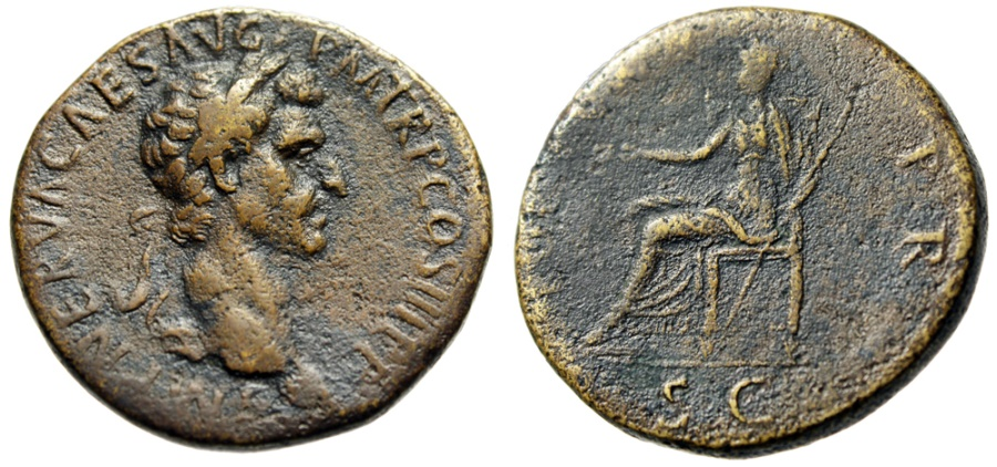 "Ancient Coins - Nerva Sestertius ""FORTVNA PR SC Fortuna Seated"" Rome 97AD RIC 85 Near VF"