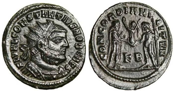 "Ancient Coins - Constantius I Chlorus, AE Radiate ""Jupiter"" Cyzicus 293-295 RIC 18a EF"