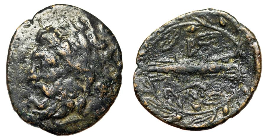 "Ancient Coins - King of Epeiros: Pyrrhos AE21 ""Zeus Dodonaian Left & Thunderbolt, B"" Scarce"