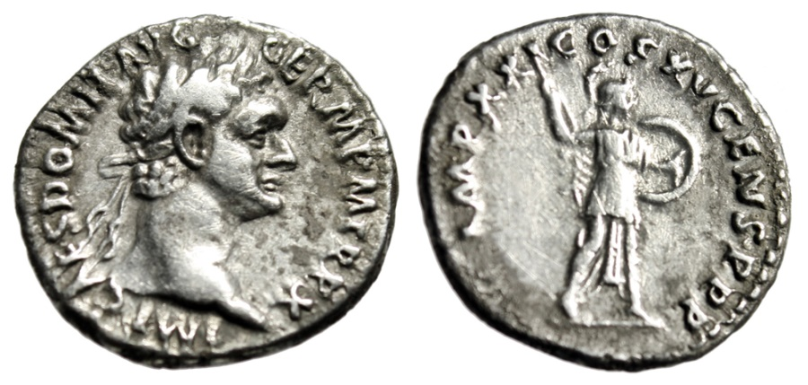"Ancient Coins - Domitian AR Denarius ""Minerva Brandishing Spear & Shield"" 90-91 AD Rome RIC 719"