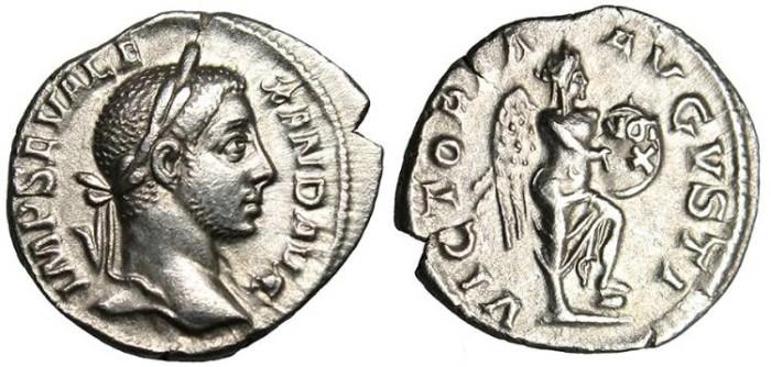 """Ancient Coins - Severus Alexander, AR Denarius """"VICTORIA AVGVSTI Victory"""" RIC 218 Scarce EF"""