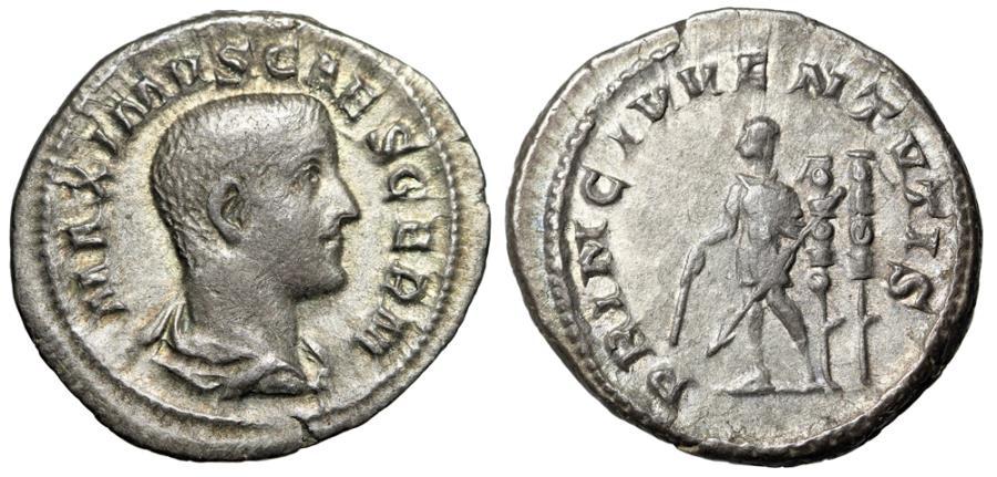 """Ancient Coins - Maximus AR Denarius """"PRICINIPI IVVENTVTIS Baton & Standards"""" Rome 235-236 AD VF"""