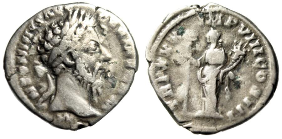 """Ancient Coins - Marcus Aurelius Denarius """"Felicitas"""" RIC 365 Variant Missing Terminal PP Scarce"""