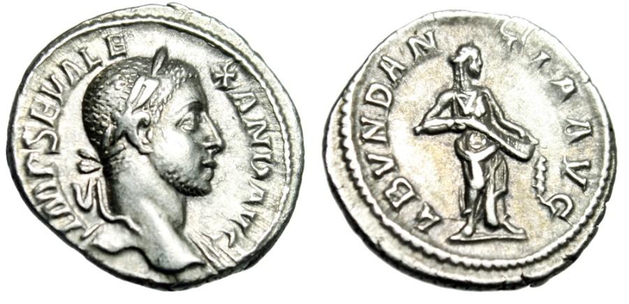 "Ancient Coins - Severus Alexander Silver Denarius ""Abundantia, Abundance Cornucopia"" RIC 184 gVF"