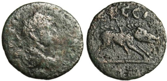 "Ancient Coins - Geta AE16 ""Boar With Spear in Side"" Ionia, Ephesus Scarce"
