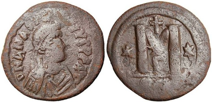 Ancient Coins - Anastasius I LARGE Module Follis 34mm Constantinople gF