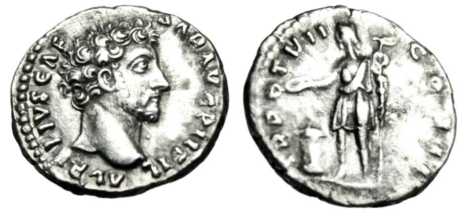 """Ancient Coins - Marcus Aurelius Caesar Silver Denarius """"Genius Exercitus, Standard"""" RIC 453a gVF"""