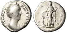 """Ancient Coins - Diva Faustina I Silver Posthumous Denarius """"Pietas at Altar"""" RIC 394a"""