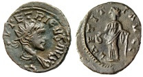 """Ancient Coins - Tetricus II as Augustus Antoninianus """"LAETITIA AVGG Laetitia"""" Extremely Rare aEF"""