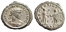"Ancient Coins - Probus Silvered Antoninianus ""CLEMENTIA TEMP Emperor & Jupiter"" Antioch VF"