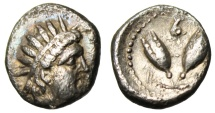 "Ancient Coins - Caria, Rhodes Silver Diobol ""Helios & Two Rose buds, Pecten Shell"" Rare nEF"