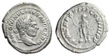 "Ancient Coins - Caracalla AR Denarius ""Apollo, Branch & Lyre on Altar"" Rome 215 AD RIC 254 aVF"