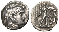 "Ancient Coins - Ptolemy I Tetradrachm in the Name Alexander III ""Elephant Headdress & Athena"" Rare EF"
