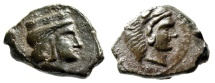 "Ancient Coins - Sicily, Himera (as Thermai Himerenses) AE15 ""Hera & Herakles"" Rare Choice EF"