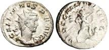 "Ancient Coins - Gallienus Silver AR Ant. ""VIRT GALLIENI AVG Emperor Trampling Enemy"" RIC 315"