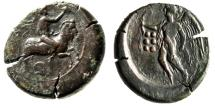 "Ancient Coins - Sicily, Himera AE Hemilitra ""Pan Blowing Conch on Goat / Nike, Aphlaston"" VF"
