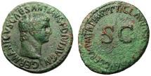 "Ancient Coins - Germanicus AE As ""Head Right / SC"" Rome 50-54 AD RIC 106 (Claudius) VF"
