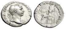 "Ancient Coins - Trajan Silver Denarius ""Roma Seated, Holding Victory"" Rome RIC 116 Good Fine"