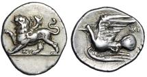 "Ancient Coins - Sikyonia, Sikyon AR Triobol ""Chimaera Standing & Dove Flying, NI"" Near EF"
