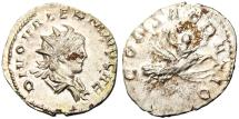 """Ancient Coins - Valerian II Silver AR Ant. """"CONSECRATIO On Flying Eagle"""" Cologne RIC 9 EF"""