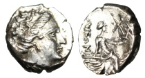 """Ancient Coins - Euboia, Histaia AR Tetrobol """"Nymph on Stern of Galley"""" About EF"""