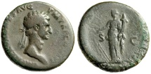 """Ancient Coins - Nerva Sestertius """"Fortuna, Deity of Luck & Fortunate Circumstance"""" 97 AD RIC 83"""