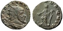 "Ancient Coins - Aureolus (In the Name of Postumus) AE Antoninianus ""Concordia on Galley"" gVF"