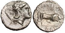 "Ancient Coins - Lucania, Thourioi Silver Diobol ""Athena DI & Bull Butting"" nEF Rare"