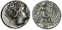 """Ancient Coins - Euboia, Histiaia AR Tetrobol """"Nymph Bust & On Prow, SA Monogram"""" Very Rare EF"""